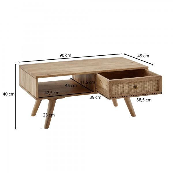 Design  Massiver Couchtisch im anmutigen Landhausstil Individuelle Maserung und Farbgestaltung machen jeden Holztisch einzigartig Getragen wir das robuste Moebelstueck von vier stabilen Standbeinen Grosszuegige Ablageflaeche, geraeumige Schublade &am