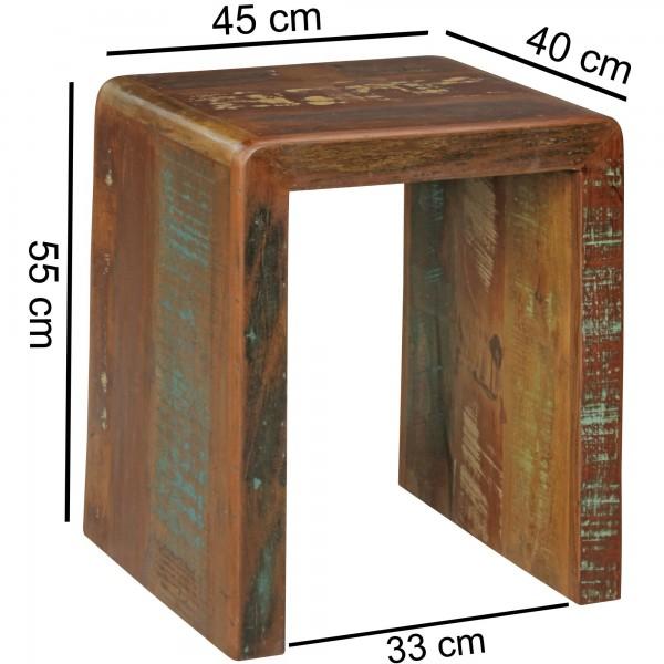 Design  Eleganter Cube-Beistelltisch im Shabby-Chic-Design Unverwechselbares, einzigartiges Design Individuelle Maserung und Farbgestaltung Abmessungen  Breite: 45 cm Hoehe: 55 cm Tiefe: 40 cm Materialstaerke: 6 cm Abstand zwischen Fuessen: 33 cm Far