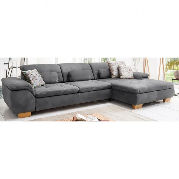 """Sofa """"Meles"""" mit Hocker & Sitztiefenverstellungen Graphit Echtleder/Naturleder/Nubuck 315 x 180 cm Ausstellungsstück"""