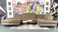 Wohnlandschaft MM Miami mit Sitztiefenverstellungen Fango Luxus-Webstoff Flachgewebe