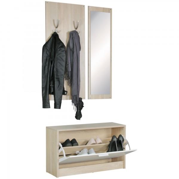 Design  Modernes Garderobenset im zeitlosen Design Ein eleganter Akzent fuer jedes Zuhause Viele Ablagemoeglichkeiten und ein Spiegel Ein Wandpaneel mit 10 Garderobenhaken Schuhschrank mit einer grossen Klapptuer Abmessungen   Gesamtbreite: 80 cm Ges