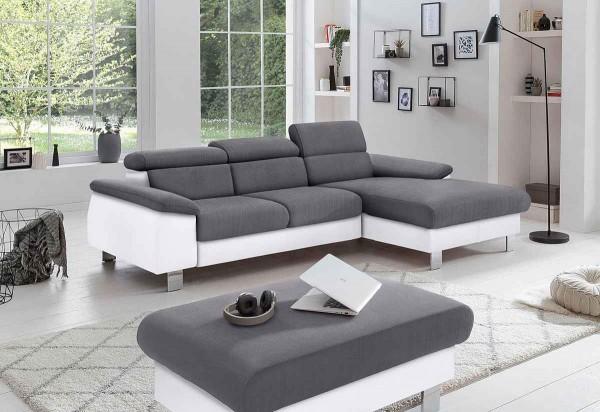 Ecksofa Micky mit Schlaffunktion & Bettkasten WeißStone Luxus-WebstoffStoff in Lederoptik