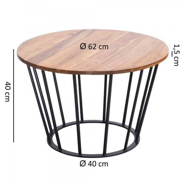 Design  Massiver Couchtisch im angesagten Industrial-Design Materialmix aus naturbelassenem Holz und robustem Metall Grosse Tischplatte mit stabilem Tischgestell Abmessungen  Breite: 62 cm Hoehe:  40 cm Tiefe: 62 cm  Tischplattenstaerke: 1,5 cm Weite