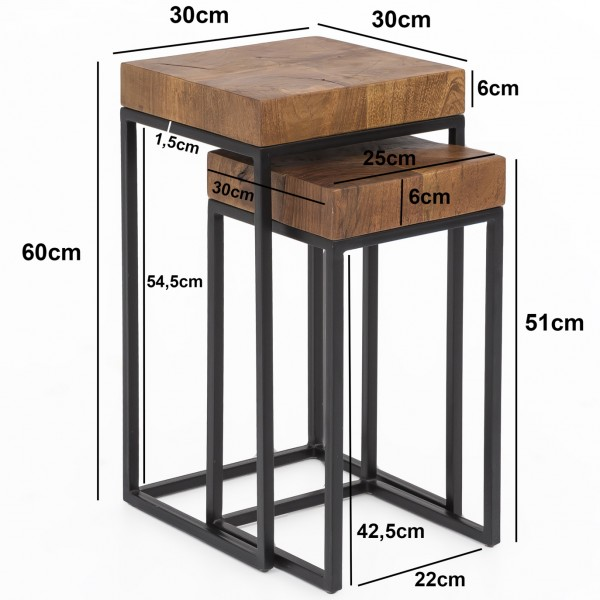 Design  Zweiteiliger Satztisch im angesagten Industrial-Design Materialmix aus massivem Holz und robustem Metall Natuerlich gehaltene Tischplatten mit schwarzen Tischgestellen Abmessungen B x H x T  Grosser Tisch: 30 x 60 x 30 cm Kleiner Tisch: 30 x