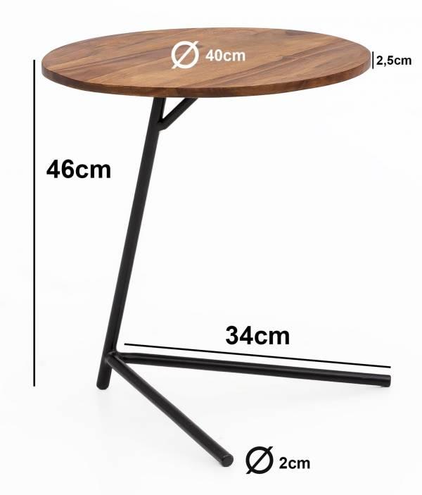 Design  Massiver Beistelltisch im angesagten Industrial-Design Materialmix aus naturbelassenem Holz und robustem Metall Grosse Tischplatte mit stabilem Tischgestell Abmessungen  Breite: 40 cm Hoehe:  46 cm Tiefe: 40 cm  Tischplattenstaerke: 2,5 cm We