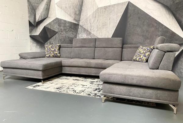 Wohnlandschaft Freestyle mit Sitztiefenverstellungen grau Luxus-Webstoff/Fein