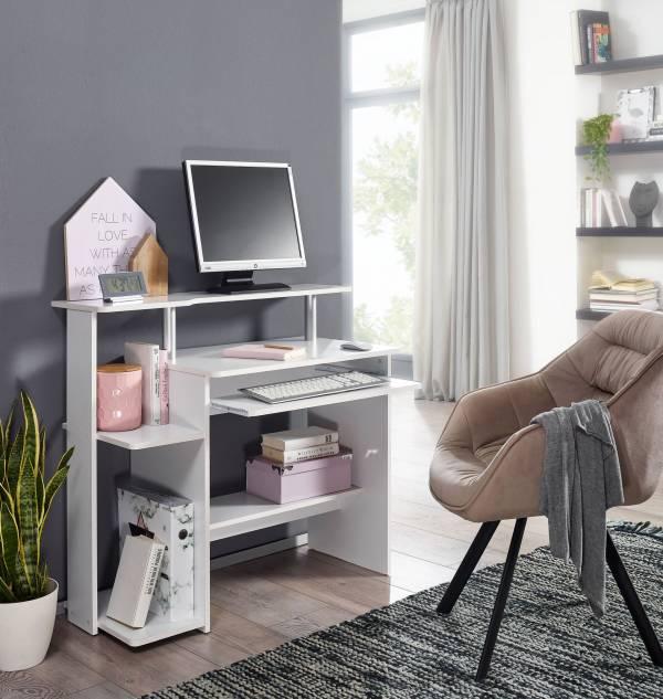 Design  Moderner Computertisch mit einer Ablage fuer einen PC Zeitloses Design - perfekter Zuwachs fuer jedes zu Hause Schreibtisch mit praktischem Tastaturauszug Abmessungen   Breite: 94 cm Hoehe: 90,5 cm Tiefe: 48,5 cm Rechnerfach (BxHxT): 22 x 50