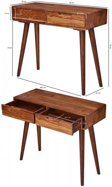 Design  Bezaubernder Konsolentisch im rustikalen Landhausstil Rechteckige Tischplatte bietet eine angenehm grosse Abstellflaeche Ausgestattet mit zwei grosszuegigen Schubladen Abmessungen  Breite: 90 cm Hoehe: 76 cm Tiefe: 36 cm Boden bis Tischunterk