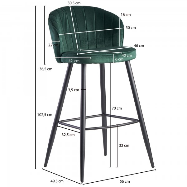 Design  Moderner Barhocker in skandinavischem Design Angenehm geformte Sitzschale fuer hohen Sitzkomfort Vier robuste Standbeine als Kontrast zum weichen Samtbezug Abmessungen  Breite: 56 cm Hoehe: 102,5 cm Tiefe: 52,5 cm Sitzhoehe: 76 cm Sitzflaeche