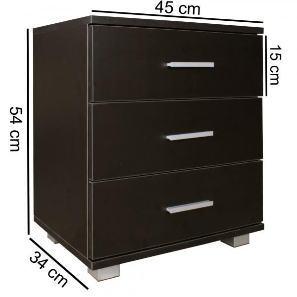 Design  Moderne Nachtkonsole, zeitloses Design Viel Stauraum in drei Schubladen Vier stabile Standfuesse bieten einen sicheren Halt Abmessungen  Breite: 45 cm Hoehe: 54 cm Tiefe: 34 cm Fusshoehe: 4 cm Innenmass der Schublade B x H x T: 35,5 x 8 x 28,