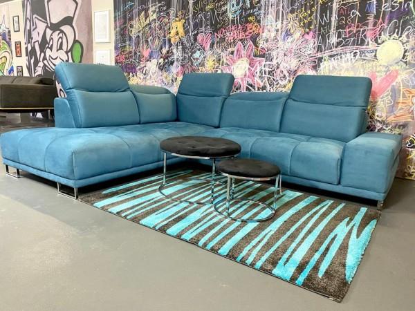 """Sofa """"Calvi"""" mit elektronische Wallaway-Funktion Blau Luxus-Mikrofaser 220 x 270 cm"""