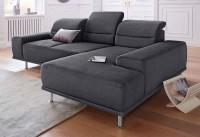 Ecksofa Mariola mit Sitztiefenverstellung Dunkelgrau Luxus-Mikrofaser/Altara Nubuck