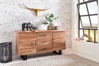 Design  Sideboard mit ausdrucksstarkem Design Moderner Landhausstil mit natuerlichem Erscheinungsbild Kommode mit drei Schueben und vier Stauraumfaecher...