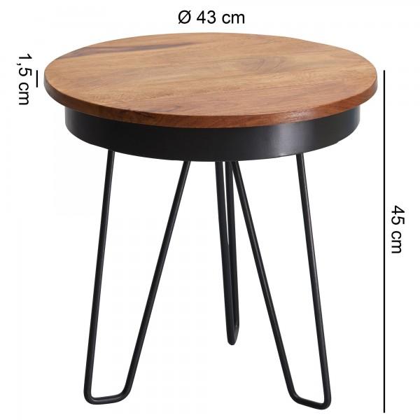 Design  Beistelltisch im angesagten Industrial Style Grosse Tischplatte bietet viel Stellflaeche Runde Tischplatte mit einzigartiger Farbgebung Aussergewoehnliches Metallgestell sorgt fuer stabilen Stand Abmessungen  Breite/Tiefe: 43 cm Hoehe: 45 cm