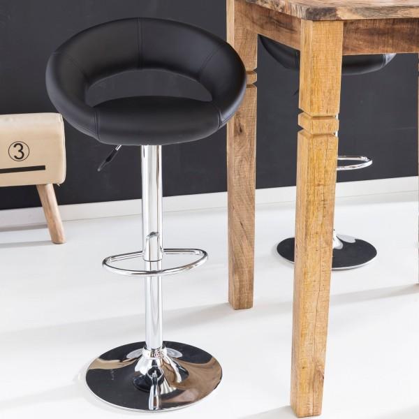 Design  Ergonomischer Sitz mit bequemen Leder Bezug Elegante Rueckenlehne fuer bequemes Sitzen Elegantes Gestell in Trompetenform mit Fussstuetze Standfuss aus verchromten Metall fuer optimale Stabilitaet Abmessungen  Hoehe: 80 - 102 cm Breite: 54,5