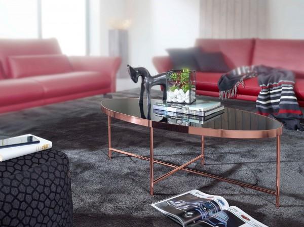 Design  Schoener Couchtisch im schlichten, modernen Stil Ovale Tischplatte auf einem filigranen Metallgestell Abmessungen  Breite: 110 cm Hoehe: 40 cm Tiefe: 56 cm Tischplatte (B x T): 109 x 55 cm Tischrandstaerke: 3,5 cm Abstand vom Boden bis zur Ti