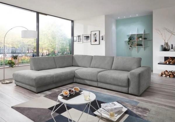 """Sofa """"Fano"""" in Hellgrau mit Sitztiefenverstellungen Luxus-Webstoff 260 x 313 cm"""