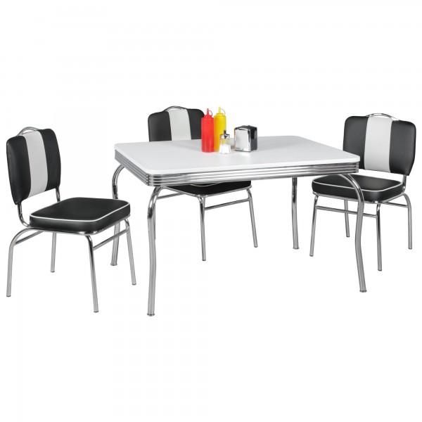 Verwendung: Der rechteckige Esstisch mit einer Breite von 120 cm bietet Platz fuer bis zu 6 Personen und laesst sich durch seine kompakte Groesse auch in kleineren Raeumen einsetzen. Der Tisch kann mit Stuehlen in verschiedenen Farben ideal kombinier