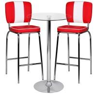 Design  Hochwertige Tischplatte aus 10mm dicken Sicherheitsglas Runde Tischplatte (Ø 60 cm) Fussgestell in eleganter Trompetenform Metall verchromtes Gestell...