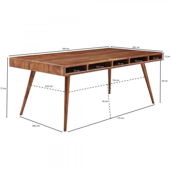 Design  Esstisch als Blickfang durch sein modernes Design Rechteckige Tischplatte mit abgerundeten Ecken Ablagefaecher unter der Tischplatte bieten zusaetzlich Stauraum Abmessungen  Breite: 200 cm Hoehe: 77 cm Tiefe: 100 cm Abstand zwischen den Beine