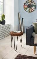 Design  Moderner Beistelltisch, klassisches Design Stilvolle und markante Maserung Drei formschoene Tischbeine aus Metall Tischplatte in Baumstamm-Optik...