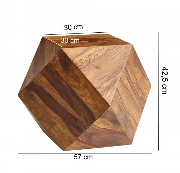 Design  Kunstvoller Couchtisch in Form eines Diamanten Attraktiver Sofatisch mit einzigartiger Maserung Absoluter Blickfang im Wohnzimmer Abmessungen  Breite: 57 cm Hoehe: 42,5 cm Tiefe: 57 cm Ablageflaeche (BxT): 30 x 30 cm Farbe  Braun Besonderheit
