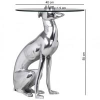 Design  Design Beistelltisch Windhundskulptur als Tischgestell 4 Fuesse fuer sicheren Stand Glasplatte als Ablage Abmessungen in cm ca.   Hoehe: 50 cm...