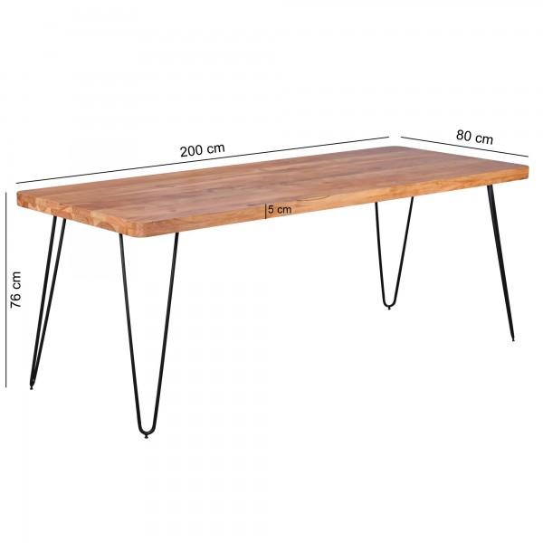 Design  Ein Esstisch im modernen Design mit abgerundeten Tischecken Rechteckige Tischlatte zur Ablage von Geschirr und diversen Gegenstaenden Vier stabile Metallbeine verleihen dem Tisch einen Industrial Flair Abmessungen  Breite: 200 cm Hoehe: 76 cm