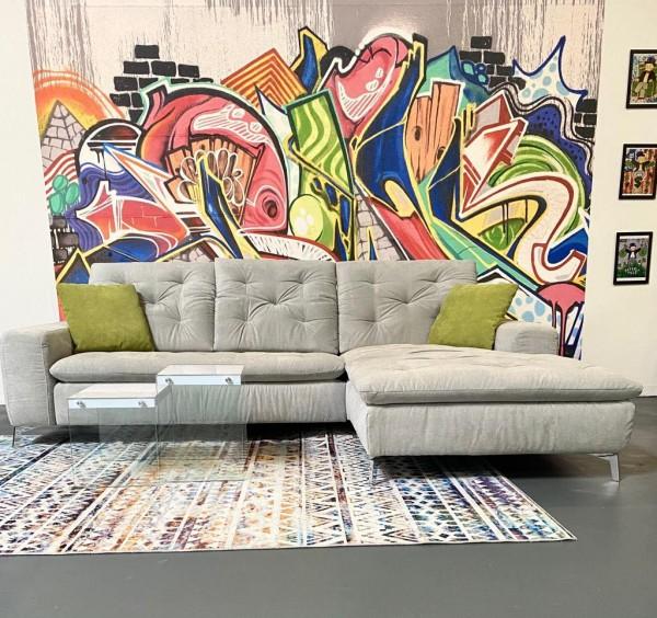 """Sofa """"Lanconia"""" in Hellgrau Luxus-Webstoff/Fein 270 x 190 cm"""