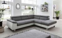 Sofa Micky Weiß/Grau Strukturstoff/Stoff in Lederoptik 249 x 207 cm