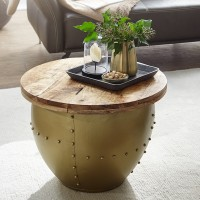 Design  Aussergewoehnlicher Couchtisch im angesagten Industrial-Stil Runde Tischplatte zur Ablage von diversen Utensilien Fester und stabiler Stand dank des...