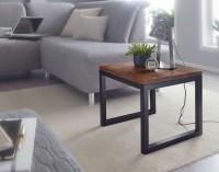 Design  Auffaelliger Beistelltisch im modernen Industrial-Design Beeindruckende Tischplatte dank der schoenen Maserung des Sheeshamholzes Grosse...