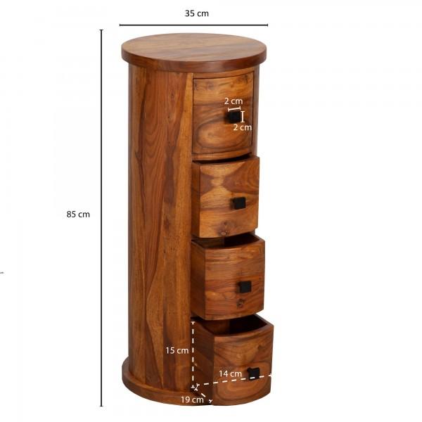 Design  Rustikale Kommode mit vier Schubladen Kleiner Schrank im angesagten Jugendstil Anrichte mit Stauraum und Ablageflaeche Abmessungen  Breite: 35 cm Hoehe: 85 cm Tiefe: 35 cm Innenmasse je Schublade (BxHxT): 14 x 15 x 19 cm Maximalbelastbarkeit