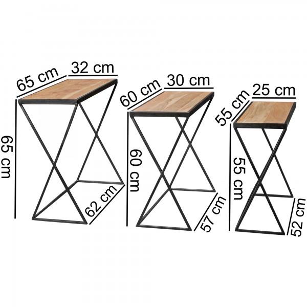 Design  Beistelltische im rustikalen Materialmix Beistelltisch Set in drei verschiedenen Groessen Drei Blumentische mit Holzplatte und Metallbeinen Abmessungen Grosser Tisch:  Breite: 65 cm Hoehe: 65 cm Tiefe: 32 cm Mittlerer Tisch:  Breite: 60 cm H