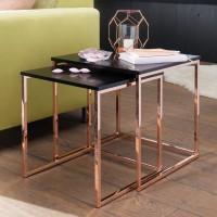 Design  Satztisch 2er-Set im unverwechselbaren Design Stylische und moderne Satztische im angesagten Gold-Look Spiegelnde Tischplatten auf hochglanz...