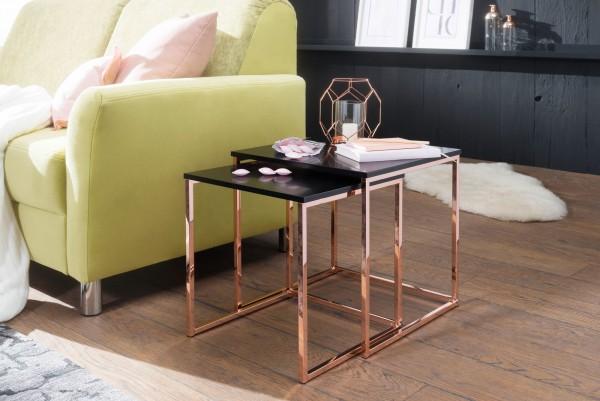 Design  Satztisch 2er-Set im unverwechselbaren Design Stylische und moderne Satztische im angesagten Gold-Look Spiegelnde Tischplatten auf hochglanz Metallgestell Abmessungen  Breite: 40 / 35 cm Hoehe: 42 / 39 cm Tiefe: 40 / 35 cm Farbe  Glasplatte: