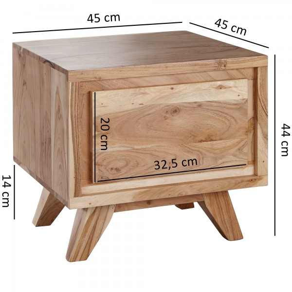 Design  Massive Nachtkonsole im modernen Landhausstil Grosszuegige Ablageflaeche &amp  geraeumige Schublade sorgen fuer Stauraum Individuelle Maserung und Farbgestaltung machen jeden Holztisch einzigartig Getragen wir das robuste Moebelstueck von vie