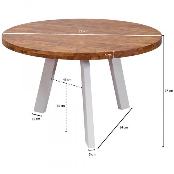 Design  Esstisch als Blickfang durch sein modernes Design Runde Tischplatte mit weissen Beinen Abmessungen  Breite: 130 cm Hoehe: 77 cm Tiefe: 130 cm Abstand zwischen den Beinen: ca. 45 cm Boden bis Tischunterkante: 72 cm Besonderheiten  Durch die Ve