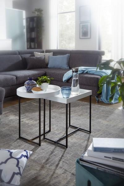 Design  Tabletttisch-Set im schlichten, modernen Design Das Set besteht aus einem runden und einem rechteckigen Tisch Stimmiger Farbkontrast setzt spannende Akzente in jedem Raum Abmessungen Runder Tisch  Breite: 46 cm Hoehe: 53 cm Tiefe: 46 cm Ablag