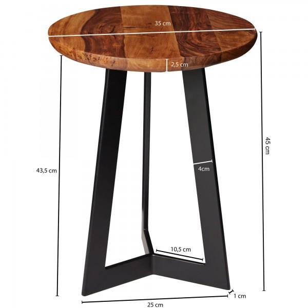 Design  Massiver Beistelltisch im angesagten Industrial-Design Materialmix aus naturbelassenem Holz und robustem Metall Grosse Tischplatte mit stabilem Tischgestell Abmessungen  Breite: 35 cm Hoehe: 45 cm Tiefe: 35 cm  Tischplattenstaerke: 2,5 cm Wei