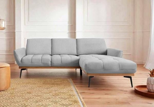 Ecksofa Palic von GMK mit Komfort-Rückenfunktion Silber Luxus-Webstoff