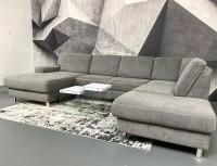Wohnlandschaft Venice mit Schlaffunktion & Bettkasten Grau Luxus-Webstoff