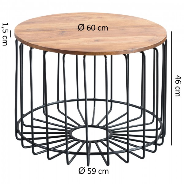 Design  Massiver Couchtisch im angesagten Industrial-Design Materialmix aus naturbelassenem Holz und robustem Metall Grosse Tischplatte mit stabilem Tischgestell Abmessungen  Breite: 60 cm Hoehe: 46 cm Tiefe: 60 cm  Tischplattenstaerke: 1,5 cm Weiter