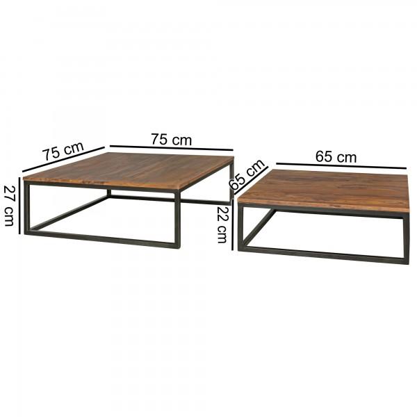 Design  Zwei unterschiedlich grosse Tische im trendigen Industrial-Style Industrielles Design durch Materialmix bestehend aus Metallgestell und Holzplatte Solide Beinkonstruktion beider Tische ermoeglicht sicheren Stand Abmessungen  Grosser Tisch B x