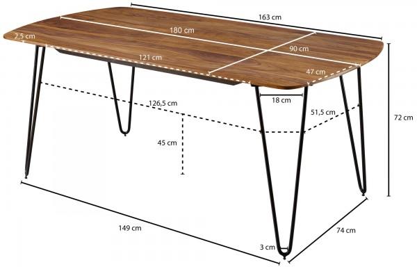 Design  Esstisch als Blickfang durch sein modernes Design Quadratische Tischplatte mit abgerundeten Ecken Haarnadelfoermige Beine aus Metall Abmessungen  Breite: 180 cm Tiefe: 90 cm Hoehe: 76 cm Besonderheiten  Hohe Stabilitaet durch das Metallgestel