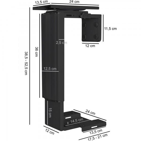 Design  Praktische PC Halterung im zeitlosen Design Halter mit Laufschiene und 360° Drehgelenk Moderner, schwarzer PC-Halter Abmessungen  Laenge der Laufschiene: 24 cm Hoehe: 38,5 - 52,5 cm Tiefe der Laufschiene: 13,5 cm Breite des Halters: 14,5 Hoe