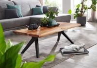 Design  Auffaelliger Couchtisch im angesagten Industrial-Stil Ausdrucksstarke Baumkanten an zwei Seiten der Tischplatte Rechteckige Tischplatte zur Ablage...
