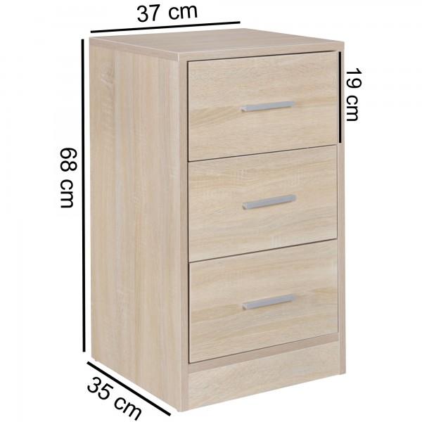 Design  Moderne Nachtkonsole, zeitloses Design Viel Stauraum in drei grossen Schubladen  Vier stabile Standfuesse geben einen sicheren Halt Abmessungen  Breite: 37,5 cm Hoehe: 68 cm Tiefe: 35 cm Innenmass der Schublade B x H x T: 28 x 10 x 28,5 cm Fa