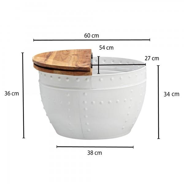 Design  Aussergewoehnlicher Couchtisch im angesagten Industrial-Stil Runde Tischplatte zur Ablage von diversen Utensilien Fester und stabiler Stand dank des robusten Metallkoerpers Dekorative Nieten zieren das Gestell des Tisches Abmessungen  Breite: