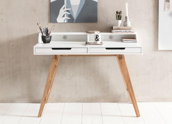 Design  Moderner Schreibtisch im skandinavischen Retro Look Zwei grosse Schubladen und zwei offene Regalfaecher Grosse Arbeitsflaeche mit zusaetzlicher Ablageflaeche Abmessungen  Breite: 110 cm Hoehe: 85 cm Tiefe: 60 cm Hoehe der Arbeitsplatte: 75 cm
